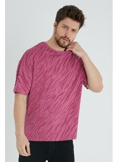 XHAN Beyaz & Siyah Zebra Desen Salaş T-Shirt 1Kxe1-44641-79 Kırmızı